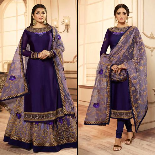 Adorable Violet Colored Party Wear Embroidered Georgette Lehenga Kameez