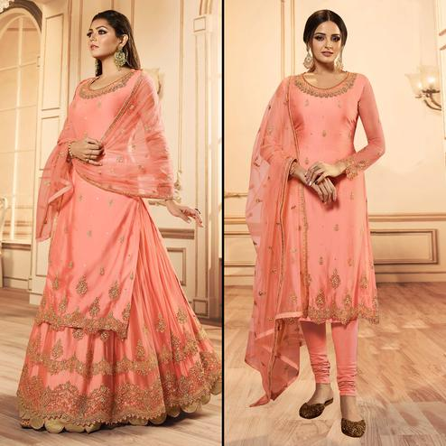 Glorious Peach Colored Party Wear Embroidered Net Lehenga Kameez
