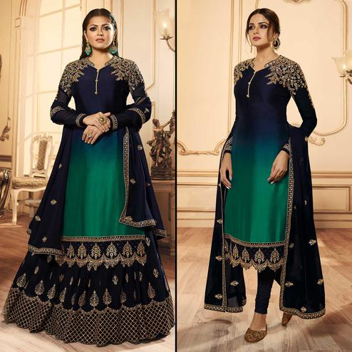 Desirable Navy Blue Colored Party Wear Embroidered Georgette-Satin Lehenga Kameez