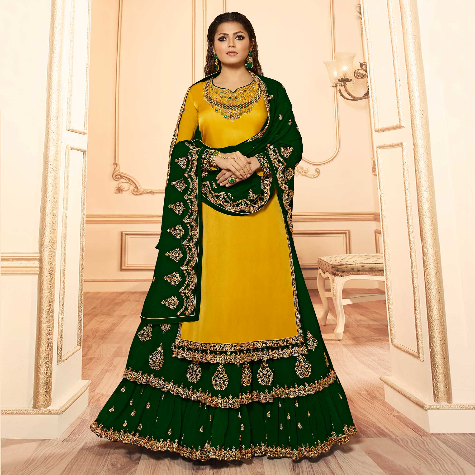 Exotic Yellow Colored Party Wear Embroidered Georgette-Satin Lehenga Kameez