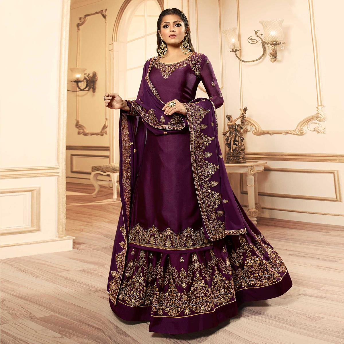 Trendy Dark Purple Colored Party Wear Embroidered Georgette-Satin Lehenga Kameez