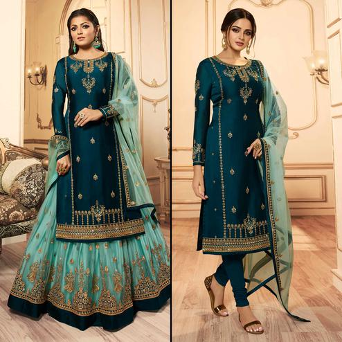 Radiant Teal Green Colored Party Wear Embroidered Georgette-Satin Lehenga Kameez