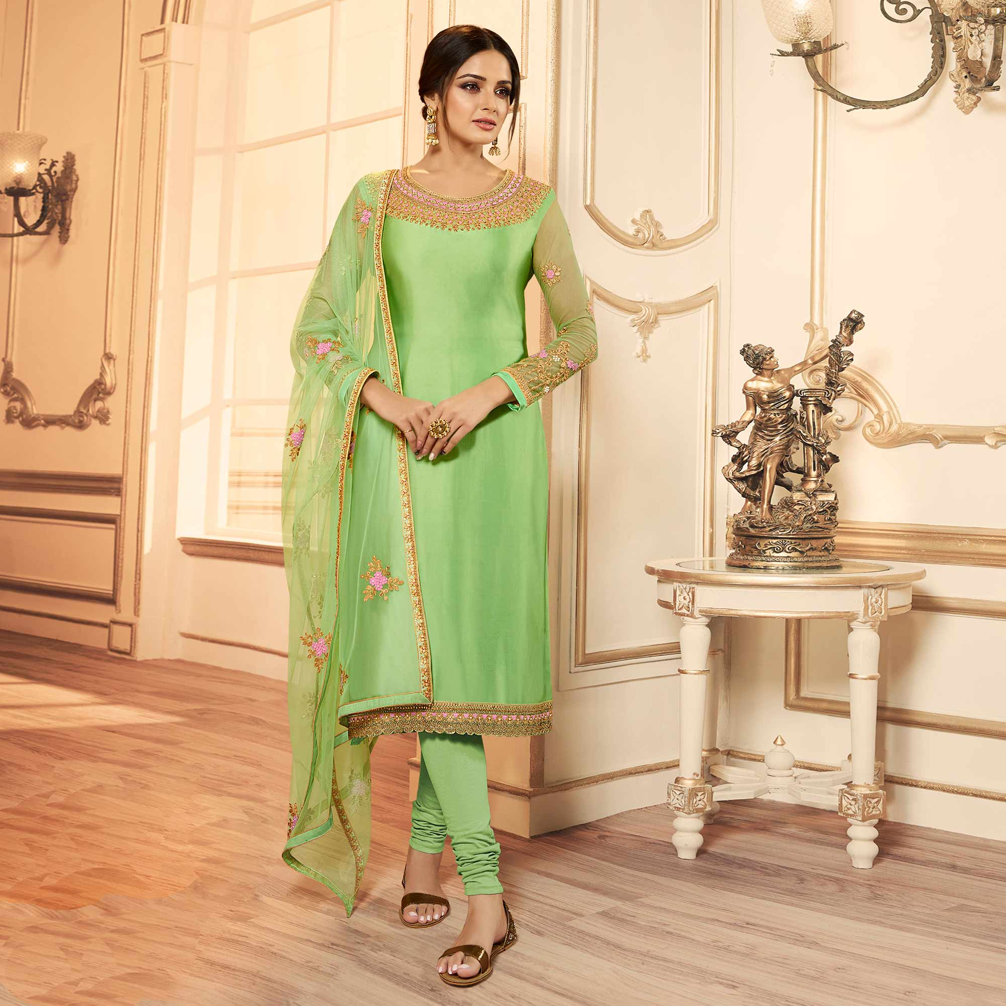 Opulent Pista Green Colored Party Wear Embroidered Georgette-satin Lehenga Kameez