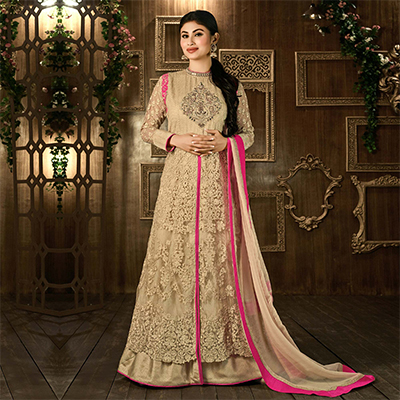 Beige Thread Work Anarkali Suit