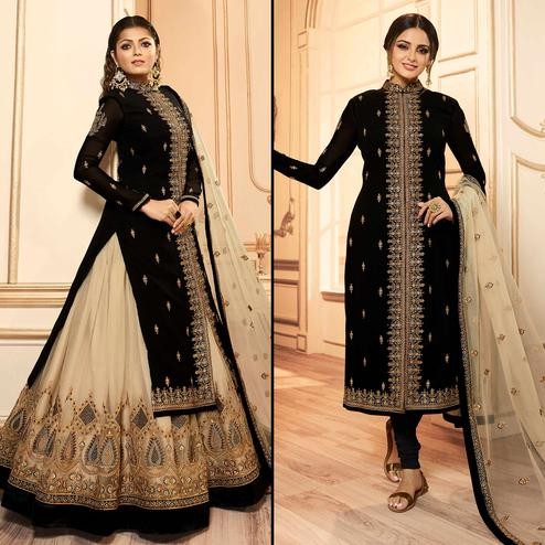Energetic Black Colored Party Wear Embroidered Georgette Lehenga Kameez