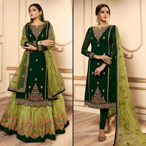 Glowing Dark Green Colored Party Wear Embroidered Georgette Lehenga Kameez