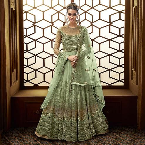 Intricate Light Turquoise Green Colored Party Wear Embroidered Netted Anarkali Suit