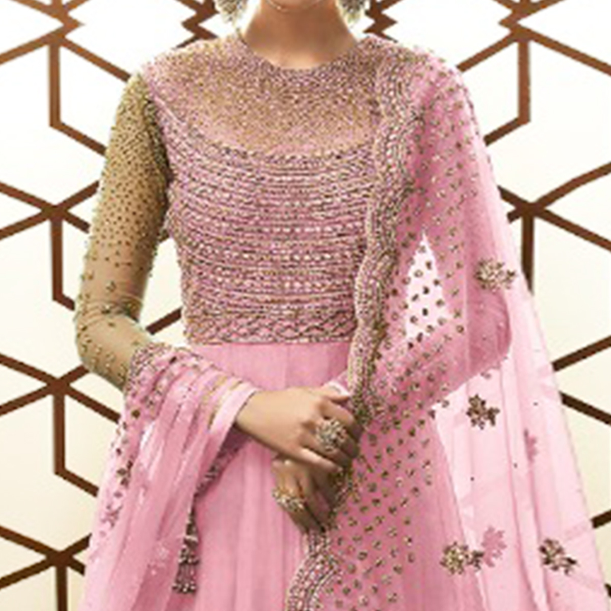 Arresting Pink Colored Party Wear Embroidered Netted Anarkali Suit
