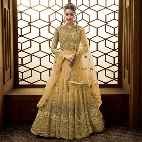 Desirable Yellow Colored Party Wear Embroidered Netted Anarkali Suit