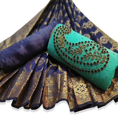 Graceful Turquoise Green Colored Party Wear Embroidered Chanderi Silk Dress Material