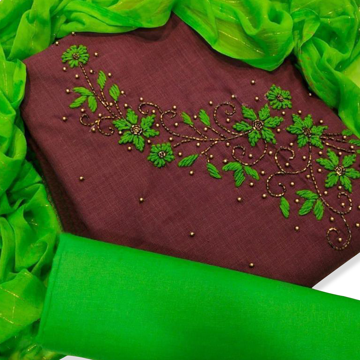 Charming Brown Colored Party Wear Embroidered Cotton Dress Material