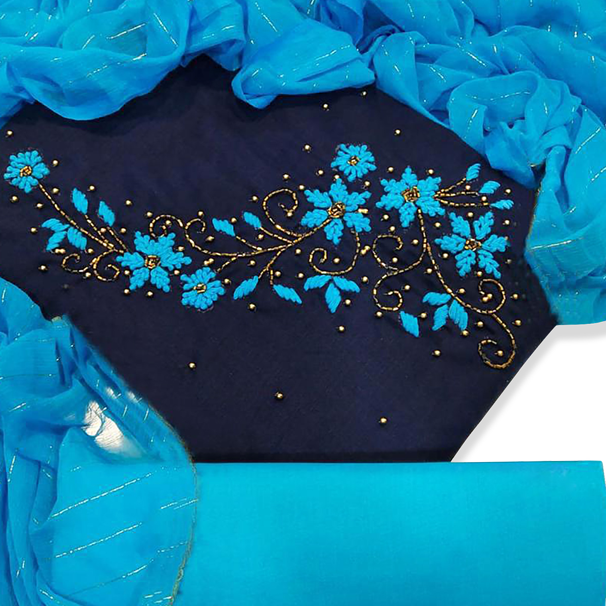 Delightful Navy Blue Colored Party Wear Embroidered Cotton Dress Material