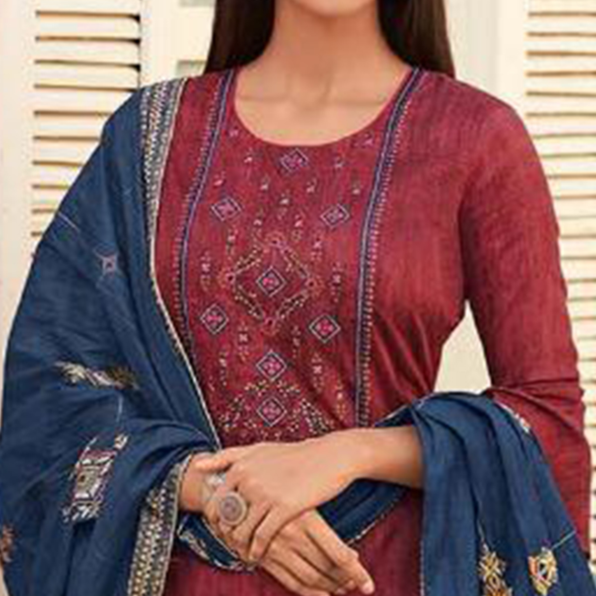 Radiant Maroon Colored Partywear Embroidered Cotton Palazzo Suit