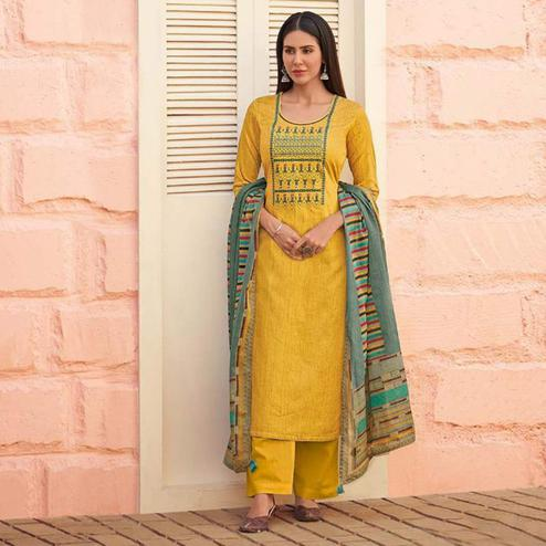 Pleasant Yellow Colored Partywear Embroidered Cotton Palazzo Suit