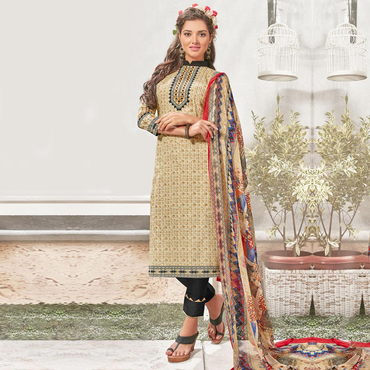 Dark Cream Printed Salwar Suit