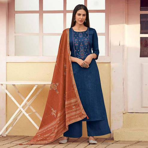 Exceptional Navy Blue Colored Partywear Embroidered Cotton Palazzo Suit