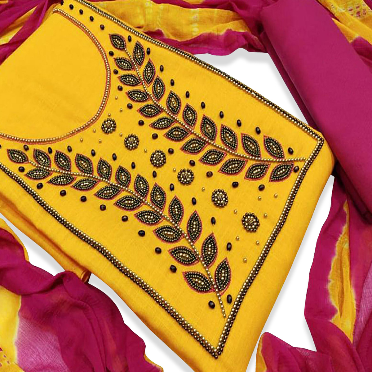Adorable Yellow Colored Party Wear Embroidered Modal Dress Material