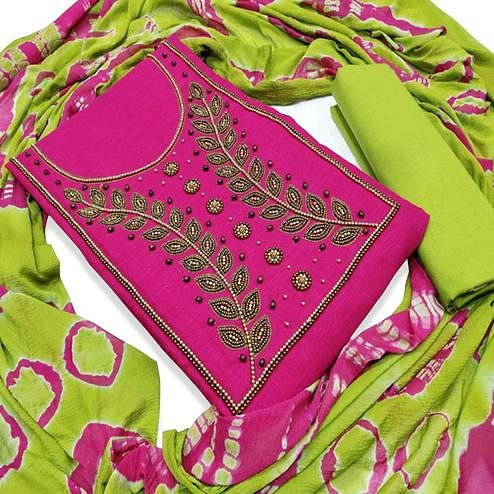 Glorious Pink Colored Party Wear Embroidered Modal Dress Material