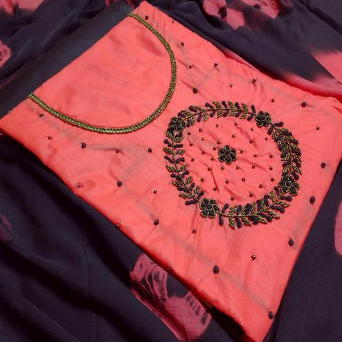 Beautiful Gajri Colored Party Wear Embroidered Modal Dress Material