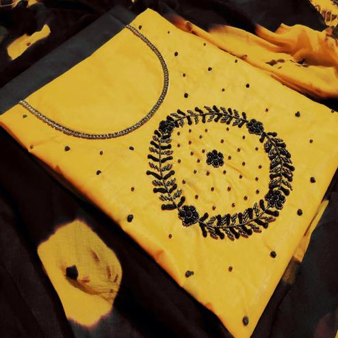 Graceful Yellow Colored Party Wear Embroidered Modal Dress Material