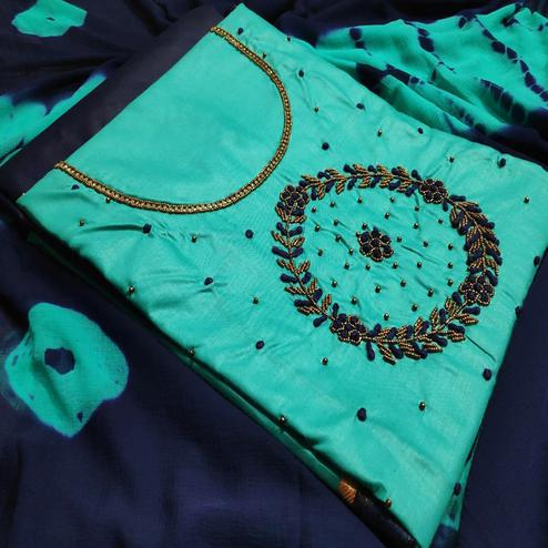 Blooming Aqua Blue Colored Party Wear Embroidered Modal Dress Material