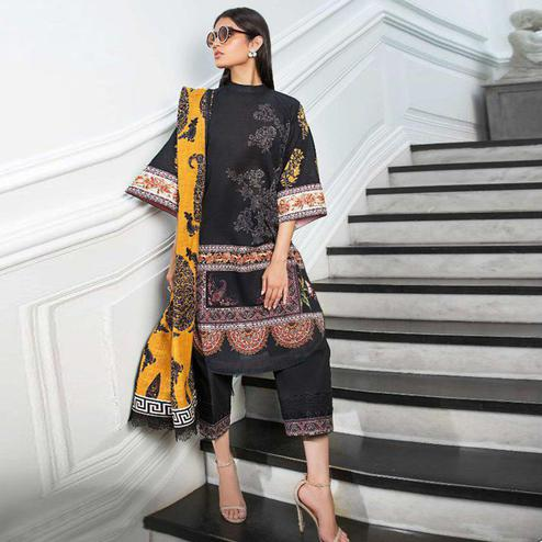 Flattering Black Colored Partywear Embroidered Cotton Suit