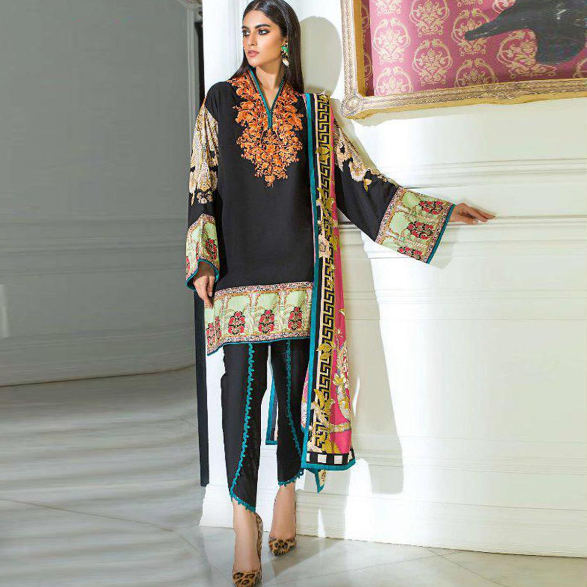 Preferable Black Colored Partywear Embroidered Cotton Suit