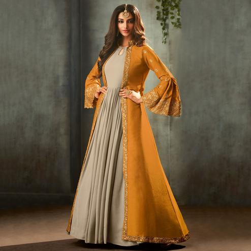Captivating Yellow-Grey Color Partywear Embroidered Gown With Long Jacket