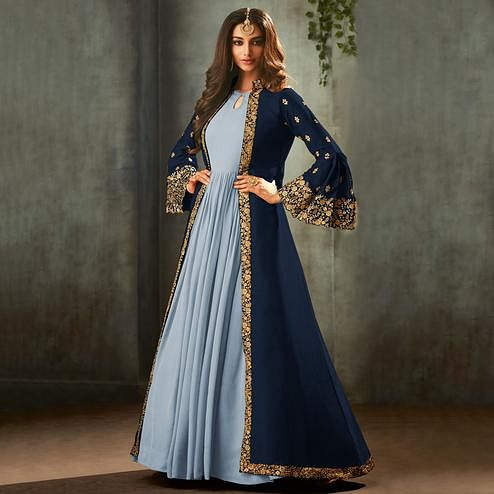 Energetic Navy Blue-Blue Colored Partywear Embroidered Gown With Long Jacket