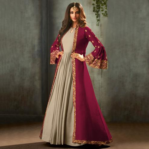 Glowing Pink-Grey Colored Partywear Embroidered Gown With Long Jacket