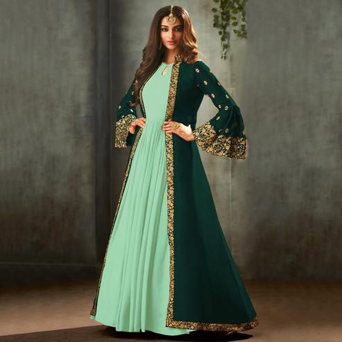 Innovative Green Colored Partywear Embroidered Gown With Long Jacket