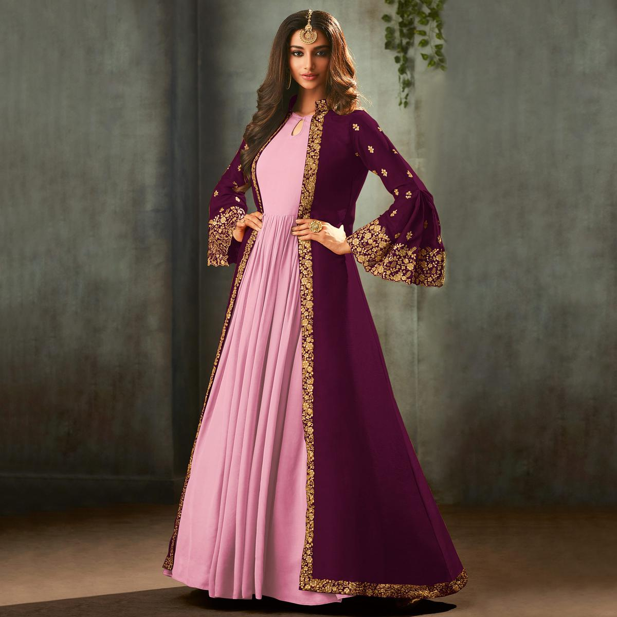Eye-catching Purple-Pink Colored Partywear Embroidered Gown With Long Jacket