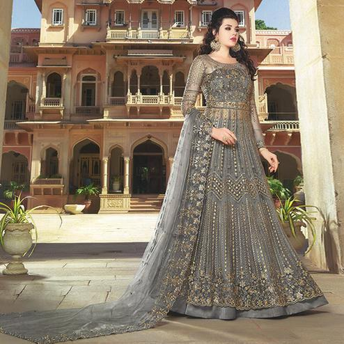 Captivating Grey Colored Partywear Embroidered Netted Anarkali With Dual Bottom
