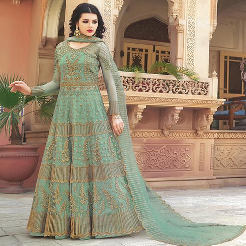 Amazing Turquoise Green Colored Partywear Embroidered Netted Anarkali With Dual Bottom