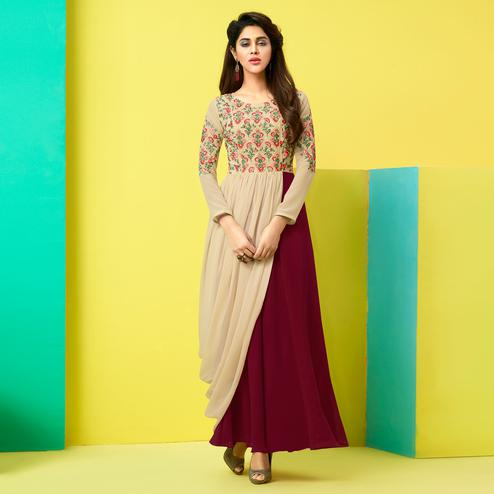 Classy Beige-Brown Colored Party Wear Embroidered Faux Georgette Kurti