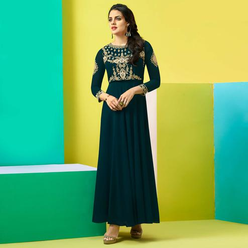 Prominent Teal Blue Colored Party Wear Embroidered Faux Georgette Kurti