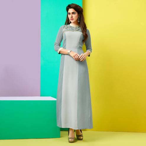 Appealing Grey Colored Party Wear Embroidered Faux Georgette Kurti