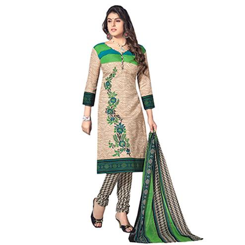Cream - Green Pure Cotton Salwar Suit