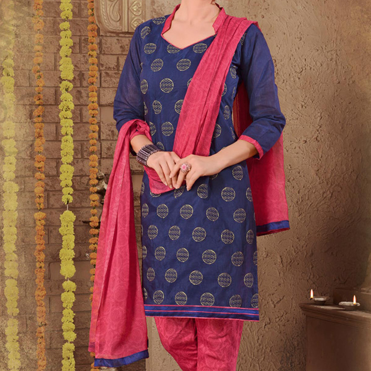 Navy Blue Embroidered Patiala Suit