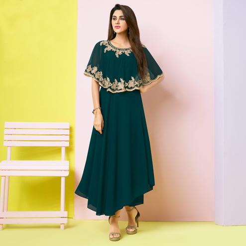 Entrancing Teal Blue Colored Party Wear Embroidered Faux Georgette Kurti