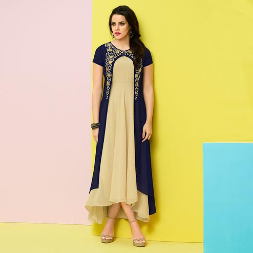 Groovy Navy Blue-Beige Colored Party Wear Embroidered Faux Georgette Kurti