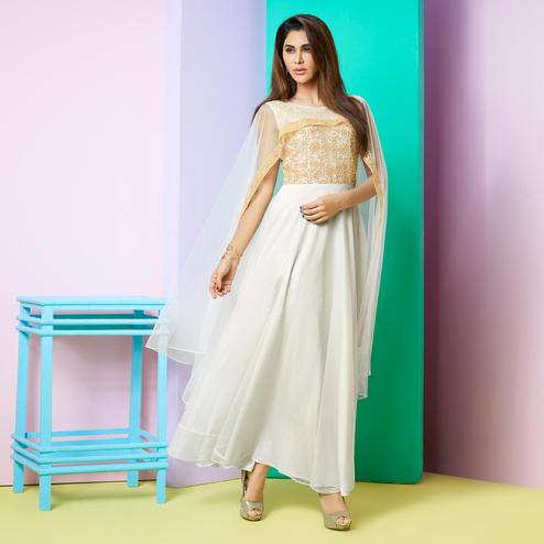 Adorning White Colored Party Wear Embroidered Faux Georgette Kurti