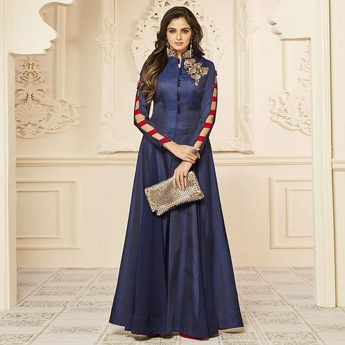 Beautiful Navy Blue Colored Party Wear Embroidered Art Silk Gown