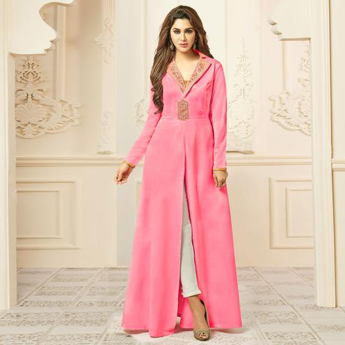 Graceful Pink Colored Party Wear Embroidered Satin Silk Gown