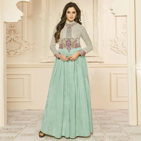 Blooming Mint Green Colored Party Wear Embroidered Satin Silk Gown