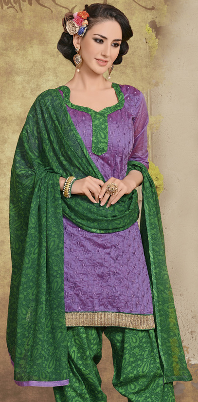 Purple Embroidered Patiala Suit