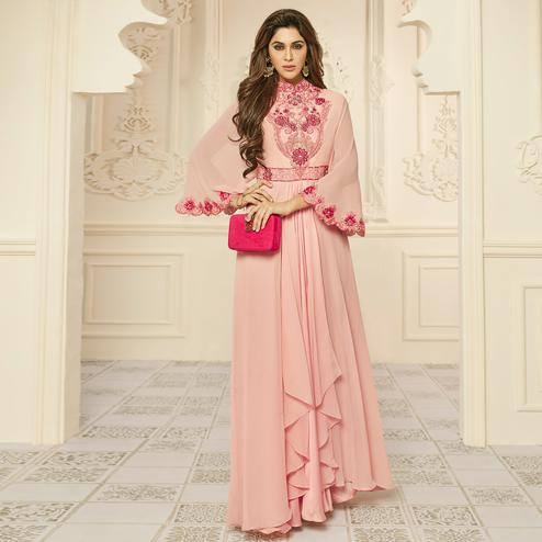 Charming Light Peach Colored Party Wear Embroidered Georgette Gown
