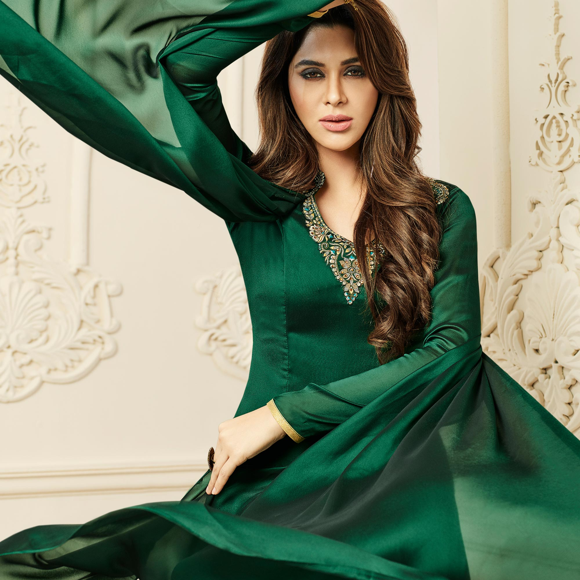Jazzy Green Colored Party Wear Embroidered Georgette-Satin Gown