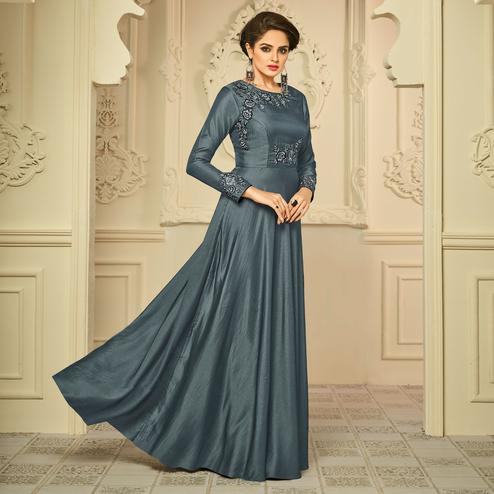 Dark Grey Colored Party Wear Embroidered Two Tone Silk-Crepe Gown