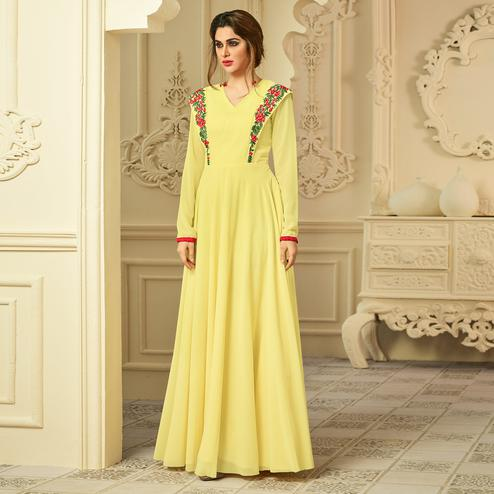 Yellow Colored Party Wear Embroidered Georgette-Crepe Gown